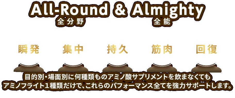 All-Round & Almighty全能全分野目的別・場面別に何種類ものアミノ酸サプリメントを飲まなくてもアミノフライト1種類だけで、これらのパフォーマンス全てを強力サポートします。
